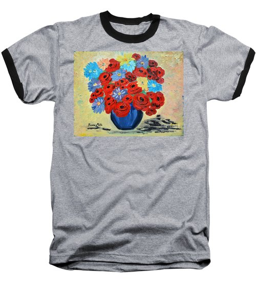 Red Poppies And All Kinds Of Daisies  Baseball T-Shirt