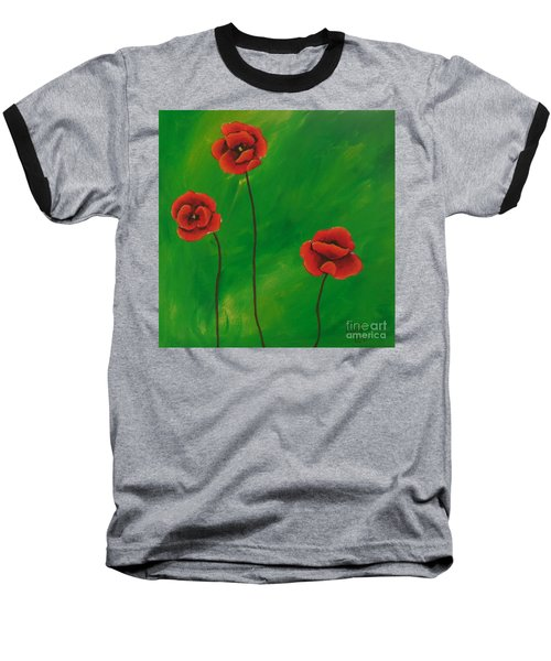 Red Poppies Baseball T-Shirt