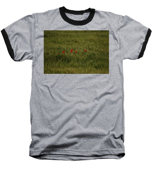 Red Poppies In Meadow Baseball T-Shirt