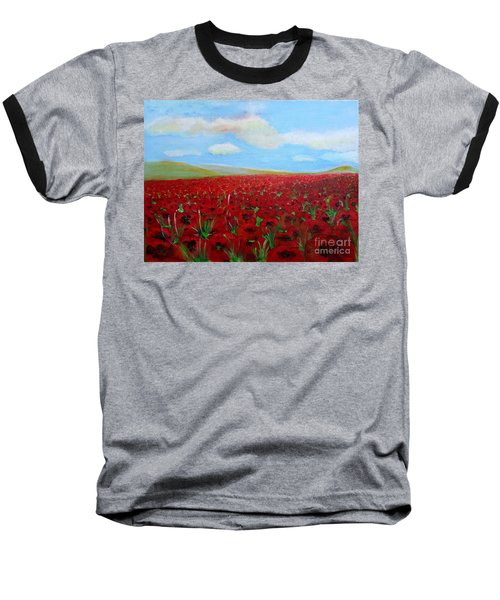 Red Poppies In Remembrance Baseball T-Shirt