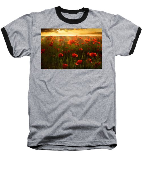 Red Poppies In The Sun Baseball T-Shirt