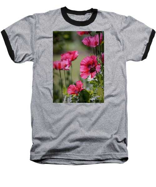 Red Poppies Baseball T-Shirt by Lisa L Silva
