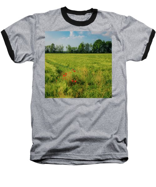 Red Poppies On A Green Wheat Field Baseball T-Shirt
