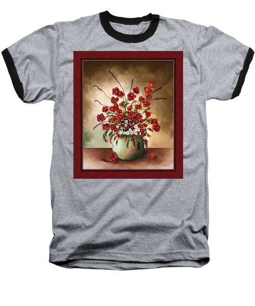 Baseball T-Shirt featuring the digital art Red Poppies by Susan Kinney