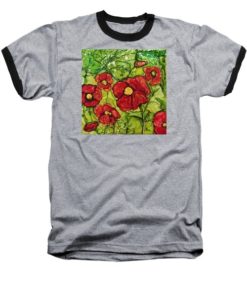 Baseball T-Shirt featuring the painting Red Poppies by Suzanne Canner