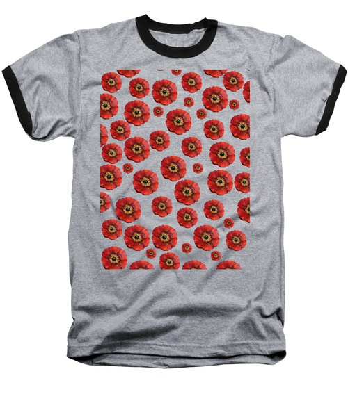 Red Poppies Transparent  Baseball T-Shirt