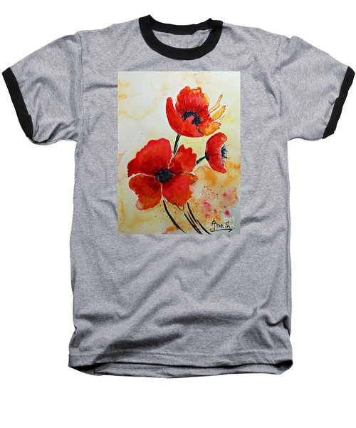 Red Poppies Watercolor Baseball T-Shirt
