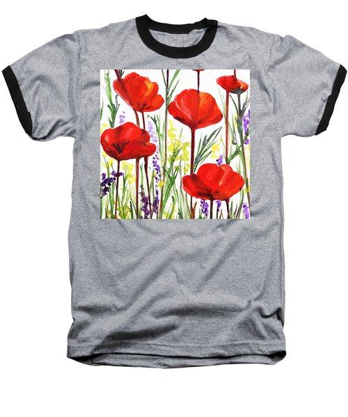 Baseball T-Shirt featuring the painting Red Poppies Watercolor By Irina Sztukowski by Irina Sztukowski