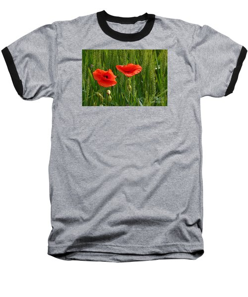 Red Poppy Flowers In Grassland 2 Baseball T-Shirt