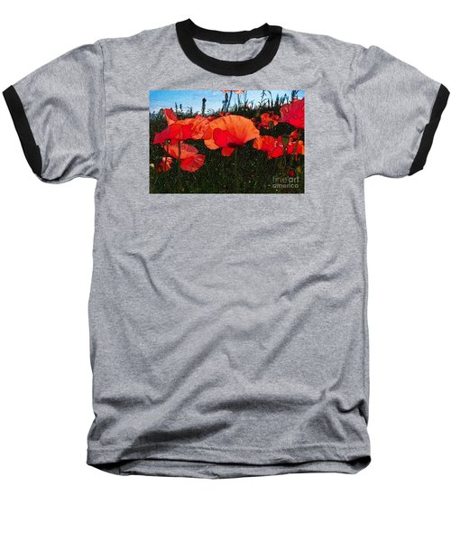 Baseball T-Shirt featuring the photograph Red Poppy Flowers In Grassland by Jean Bernard Roussilhe