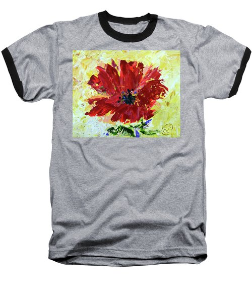 Red Poppy Baseball T-Shirt by Lynda Cookson