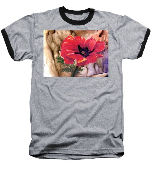 Baseball T-Shirt featuring the painting Red Poppy by Sherry Shipley