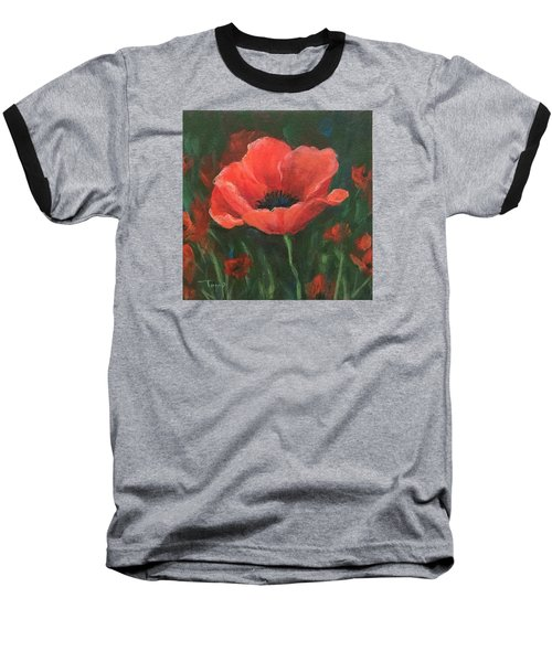 Red Poppy Baseball T-Shirt