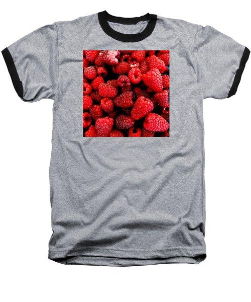 Red Raspberries Baseball T-Shirt by Nick Kloepping