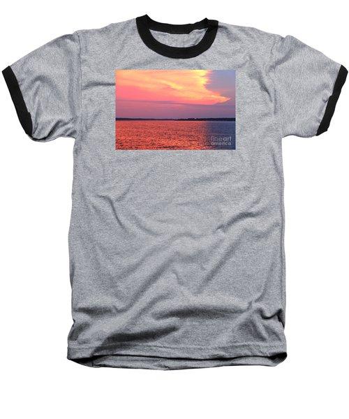Red Reflection  Baseball T-Shirt by Yumi Johnson