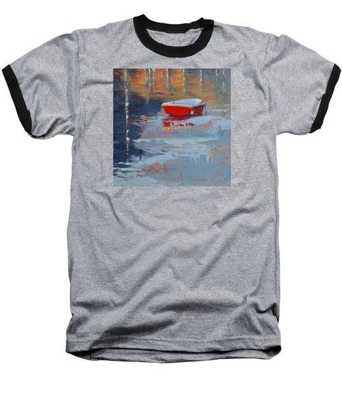 Red Reflections Baseball T-Shirt by Trina Teele