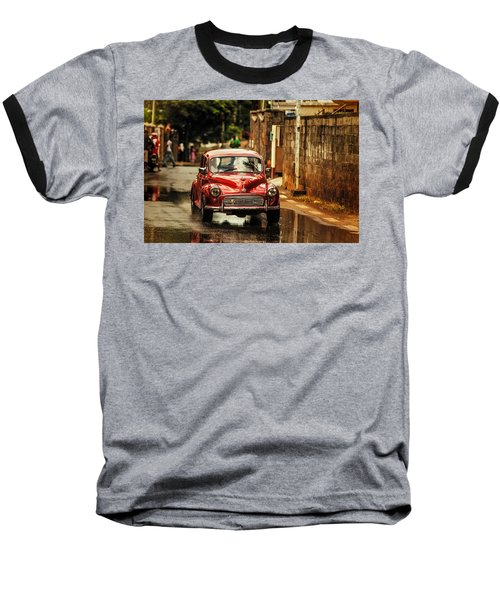 Red Retromobile. Morris Minor Baseball T-Shirt by Jenny Rainbow