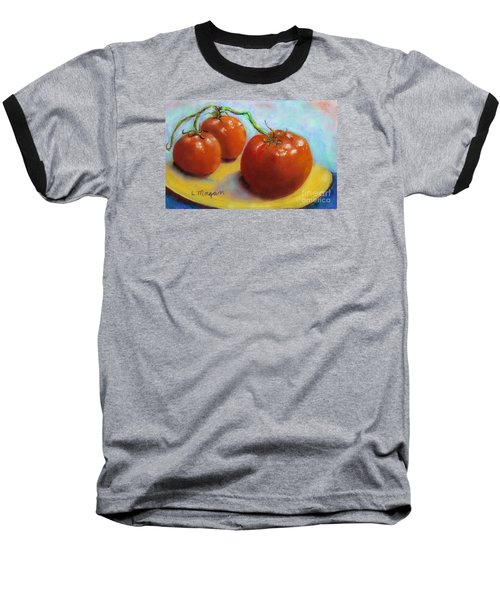 Red Ripe And Ready Baseball T-Shirt by Laurie Morgan