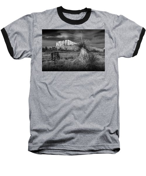 Baseball T-Shirt featuring the photograph Red Rock Formation In Sedona Arizona In Black And White by Randall Nyhof