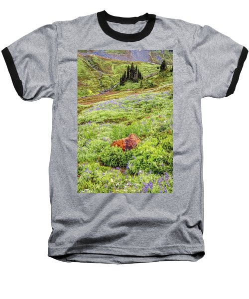 Baseball T-Shirt featuring the photograph Red Rock Of Rainier by Pierre Leclerc Photography