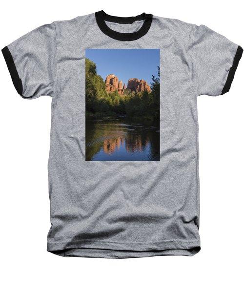 Red Rock Reflections Baseball T-Shirt by Laura Pratt