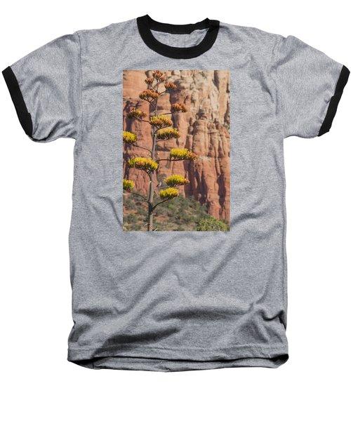 Red Rocks And Century Plant Baseball T-Shirt by Laura Pratt