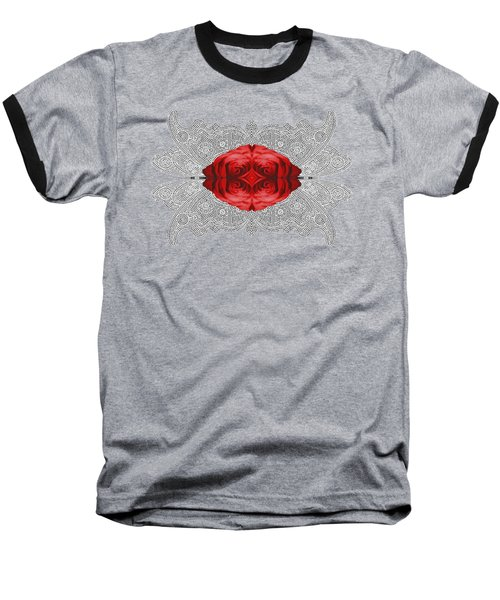 Baseball T-Shirt featuring the digital art Red Rose Abstract On Digital Lace by Linda Phelps