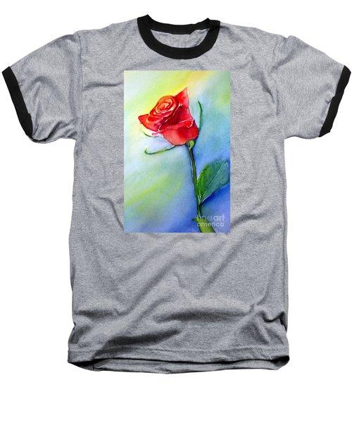 Red Rose Baseball T-Shirt by Allison Ashton