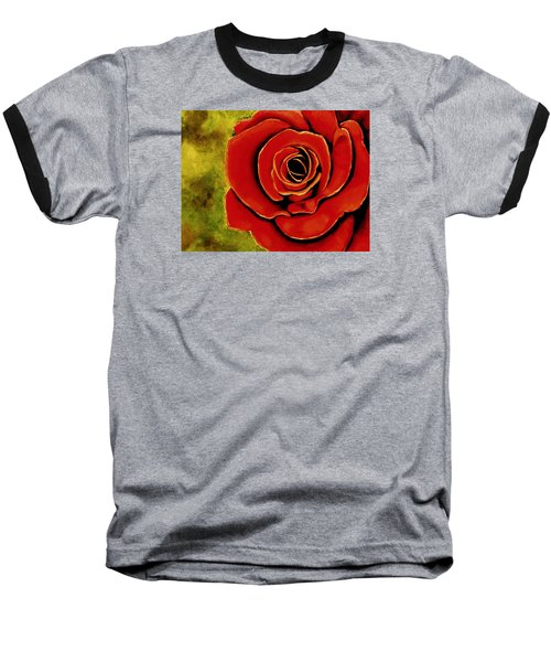 Red Rose Blooms Baseball T-Shirt
