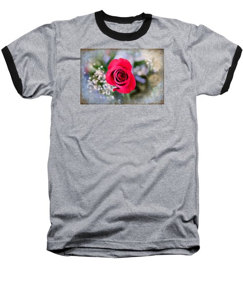 Red Rose Elegance Baseball T-Shirt by Milena Ilieva
