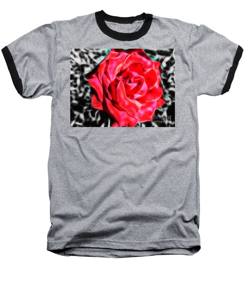 Red Rose Fractal Baseball T-Shirt