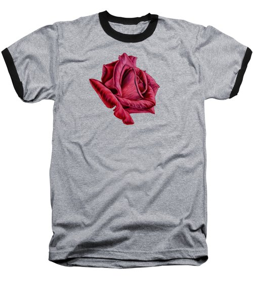 Red Rose On Black Baseball T-Shirt by Sarah Batalka