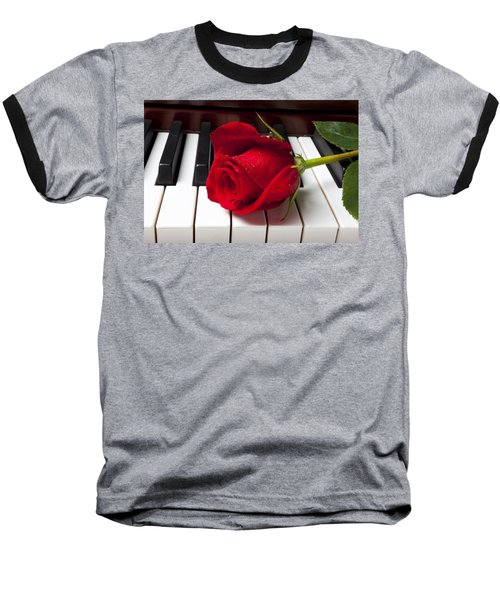 Red Rose On Piano Keys Baseball T-Shirt by Garry Gay