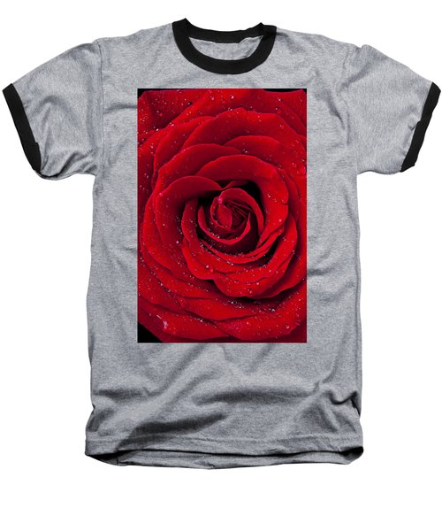 Red Rose With Dew Baseball T-Shirt