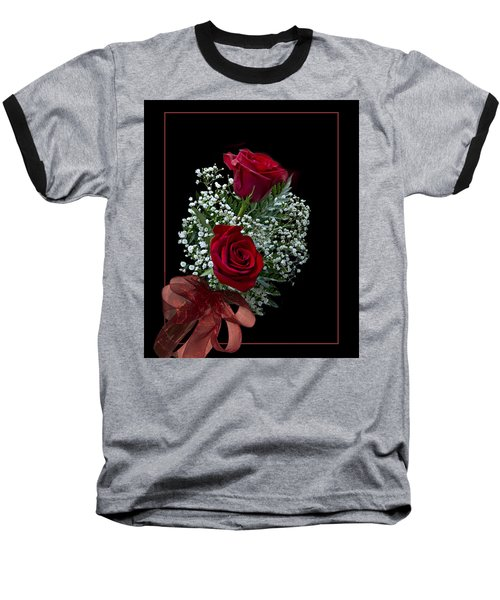 Red Roses For A Blue Lady Baseball T-Shirt by Judy Johnson