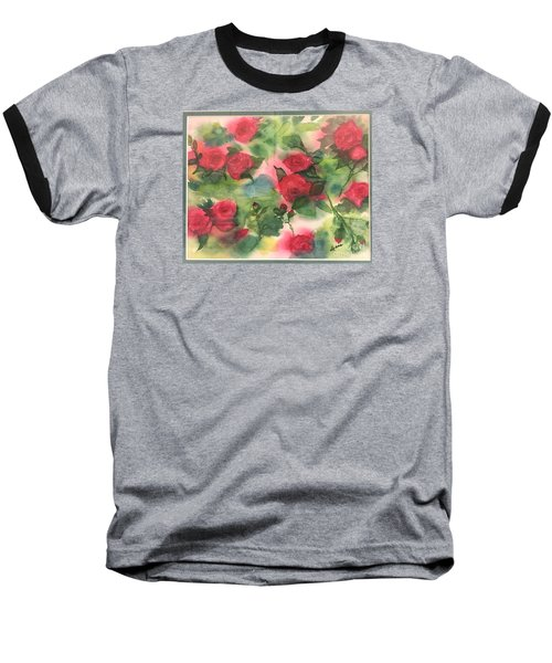 Baseball T-Shirt featuring the painting Red Roses by Lucia Grilletto