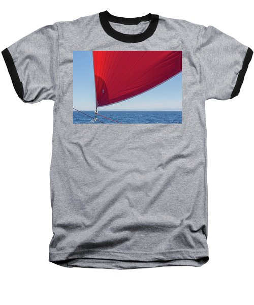 Baseball T-Shirt featuring the photograph Red Sail On A Catamaran 2 by Clare Bambers