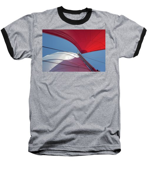 Baseball T-Shirt featuring the photograph Red Sail On A Catamaran 3 by Clare Bambers
