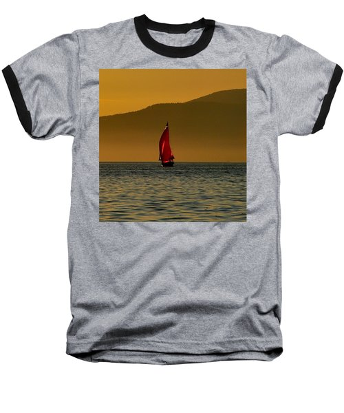 Red Sailboat Baseball T-Shirt