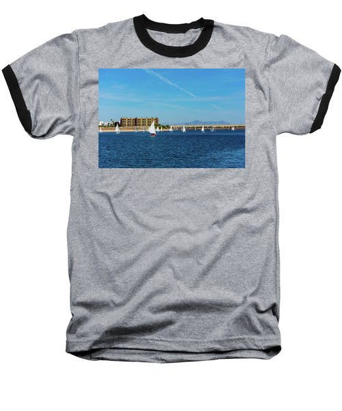 Red Sailboat In The Desert Baseball T-Shirt