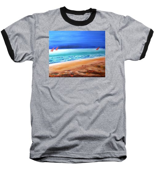 Baseball T-Shirt featuring the painting Red Sails by Winsome Gunning