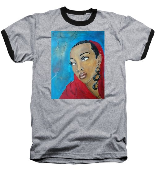 Red Scarf Baseball T-Shirt by Jenny Pickens