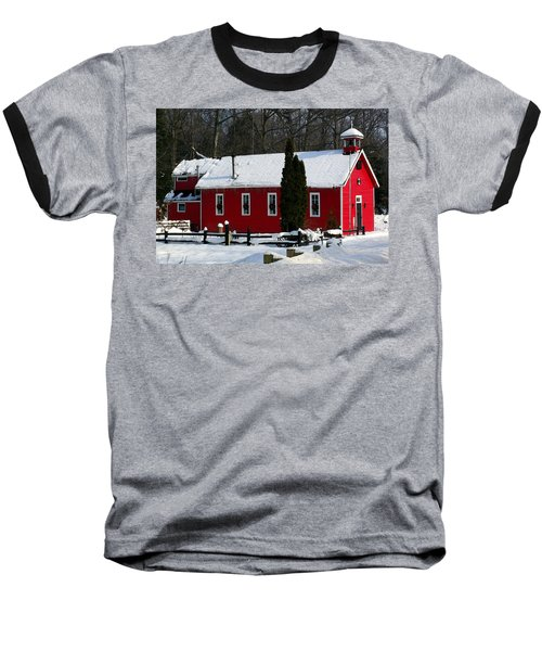 Red Schoolhouse At Christmas Baseball T-Shirt