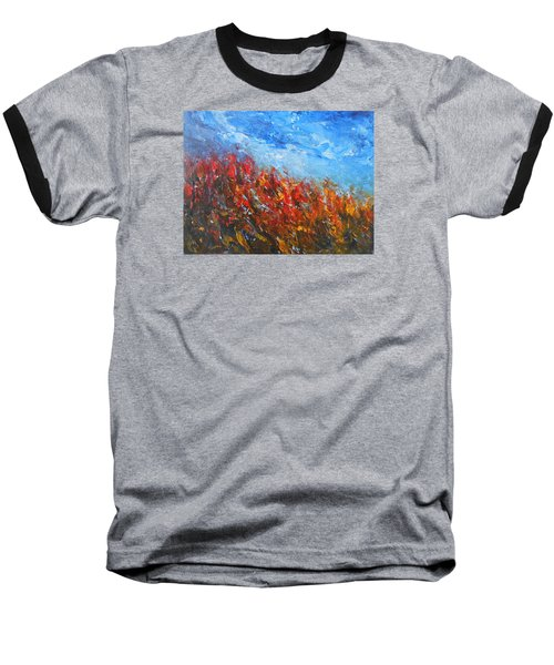Baseball T-Shirt featuring the painting Red Sensation by Jane See