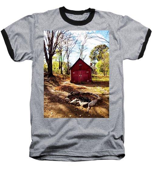 Red Shed Baseball T-Shirt by Randy Sylvia
