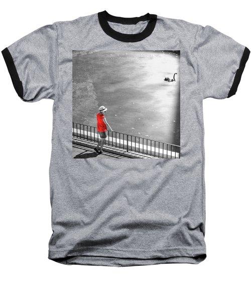 Red Shirt, Black Swanla Seu, Palma De Baseball T-Shirt by John Edwards