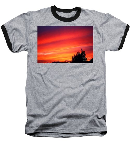 Baseball T-Shirt featuring the photograph Red Skies At Night  by Nick Gustafson