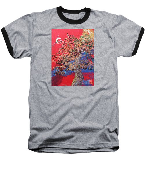 Red Sky And Tree Baseball T-Shirt