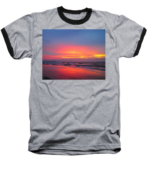 Red Sky At Morning Baseball T-Shirt by Betty Buller Whitehead