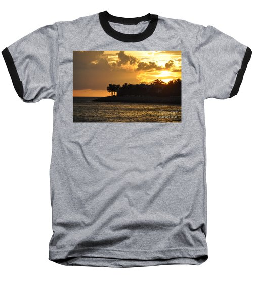 Baseball T-Shirt featuring the photograph Red Sky At Night Over Sunset Key by John Black